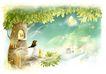梦幻风景0009,梦幻风景,彩绘人物情景模板,榕树 月色 古城 眺望 蜡烛