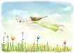 梦想少年0001,梦想少年,彩绘人物情景模板,梦游 飞天 吹奏 魔幻 草丛
