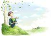 梦想少年0003,梦想少年,彩绘人物情景模板,嫩芽 春天 绿野 男孩 期待