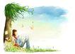 梦想少年0008,梦想少年,彩绘人物情景模板,倚靠 沉睡 花香 黄蝴蝶 蘑菇