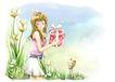 梦想少年0014,梦想少年,彩绘人物情景模板,精灵 礼物 兔子 笨笨熊 青草