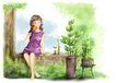 梦想少年0015,梦想少年,彩绘人物情景模板,盆栽 苗木 成长 棒棒糖 休息