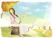 梦想少年0016,梦想少年,彩绘人物情景模板,狗尾巴草 拖鞋 平地 树桩 调皮