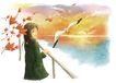 梦想少年0018,梦想少年,彩绘人物情景模板,大海 海鸥 日出 海水 秋高气爽