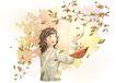 梦想少年0022,梦想少年,彩绘人物情景模板,小蜗牛 红叶 秋风 感慨 仰望