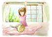 梦想少年0023,梦想少年,彩绘人物情景模板,丝巾 薄纱 懒腰 晨起 枕头