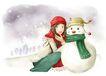 梦想少年0024,梦想少年,彩绘人物情景模板,雪人 冬天 寒冷 围巾 照片