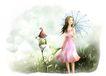 梦想少年0025,梦想少年,彩绘人物情景模板,花伞 秀发 粉红 百合花 路灯