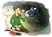 梦想少年0027,梦想少年,彩绘人物情景模板,书本 灯下 勤奋 翅膀 舞动 星光