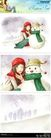 梦想少年0039,梦想少年,彩绘人物情景模板,冬天 拥抱 雪人