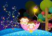 欢乐儿童0003,欢乐儿童,彩绘人物情景模板,星星海 小伞 黄灯 摘星星 吹笛