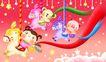 欢乐儿童0005,欢乐儿童,彩绘人物情景模板,游乐园 旋转 木马 小猪 小熊