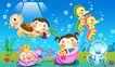 欢乐儿童0006,欢乐儿童,彩绘人物情景模板,海底世界 蜗牛 乌龟 贝壳 小虾
