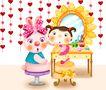 欢乐儿童0007,欢乐儿童,彩绘人物情景模板,化妆 镜子 高跟鞋 腮红 首饰
