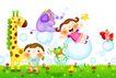 欢乐儿童0008,欢乐儿童,彩绘人物情景模板,小皮球 玩耍 青蛙 小鸟 草坪