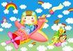 欢乐儿童0009,欢乐儿童,彩绘人物情景模板,飞机 驾驶 云朵 飞行员 小动物