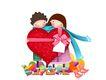欢乐儿童0013,欢乐儿童,彩绘人物情景模板,情侣 红色 爱心 蝴蝶结 围巾