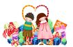 欢乐儿童0014,欢乐儿童,彩绘人物情景模板,童真 礼物 礼盒 包装 合作