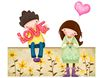 欢乐儿童0016,欢乐儿童,彩绘人物情景模板,爱情 LOVE 等待 野花 快乐