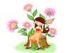 欢乐儿童0019,欢乐儿童,彩绘人物情景模板,聆听 花语 树桩 粉红 沉醉
