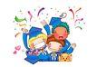 欢乐儿童0020,欢乐儿童,彩绘人物情景模板,学位 服装 彩带 庆贺 欢呼