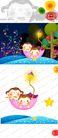 欢乐儿童0023,欢乐儿童,彩绘人物情景模板,笛子 夜空 淘气 学习 花伞