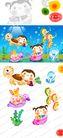 欢乐儿童0026,欢乐儿童,彩绘人物情景模板,海底世界 乌龟 海洋生物