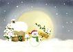 节庆艺术风景0011,节庆艺术风景,彩绘人物情景模板,圆月 黄澄澄 下雪 雪人 小房子