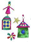 彩绘物件0186,彩绘物件,花纹边框,木偶人 欢笑 屋顶