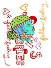 彩绘物件0187,彩绘物件,花纹边框,女孩 卡通 脸型