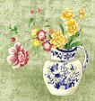 新潮色彩0062,新潮色彩,花纹边框,蓝花 瓶壁 纹理
