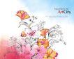 新潮色彩0069,新潮色彩,花纹边框,花姿 招摇 灿烂