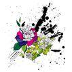 饰角素材0058,饰角素材,花纹边框,黑色 花点 墨痕
