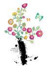 饰角素材0065,饰角素材,花纹边框,黑色 花瓶 墨画