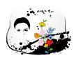 饰角素材0069,饰角素材,花纹边框,人面 花枝 背景