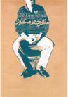 列扎.阿贝迪尼0043,列扎.阿贝迪尼,世界设计大师,端坐 安详 男人