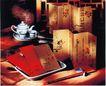 饮食0014,饮食,商业型录设计,古典设计 茶具 红筷子