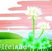 国家与鲜花0017,国家与鲜花,分层花纹,海岛 灯塔 方向