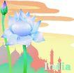 国家与鲜花0025,国家与鲜花,分层花纹,莲花 印第安 庙宇