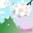 国家与鲜花0027,国家与鲜花,分层花纹,日本 樱花 飘落