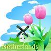 国家与鲜花0033,国家与鲜花,分层花纹,郁金香 风车 房子