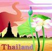 国家与鲜花0035,国家与鲜花,分层花纹,荷花 莲叶 建筑