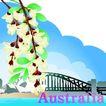 国家与鲜花0045,国家与鲜花,分层花纹,Australia 澳大利亚 桥