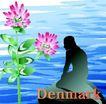 国家与鲜花0048,国家与鲜花,分层花纹,Denmark 跪着 海水