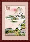 国画风景0002,国画风景,分层花纹,日出 曙光 高山 第一道光 森林