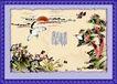 国画风景0011,国画风景,分层花纹,初升的太阳 鹤呈祥 太阳神鹤 松树 屹立不倒