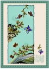 国画风景0012,国画风景,分层花纹,突出 岩石 飞蝶