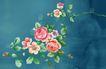 图形花纹背景0090,图形花纹背景,分层花纹,绿叶 浅红 花朵