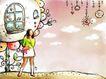 女孩与花纹0006,女孩与花纹,分层花纹,童话世界 浪漫 花朵 藤帘 公主