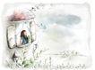 女孩与花纹0046,女孩与花纹,分层花纹,窗户 望窗外 景色